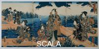 Utagawa Kunisada (1785-1864) Divertimenti vicino ad un lago