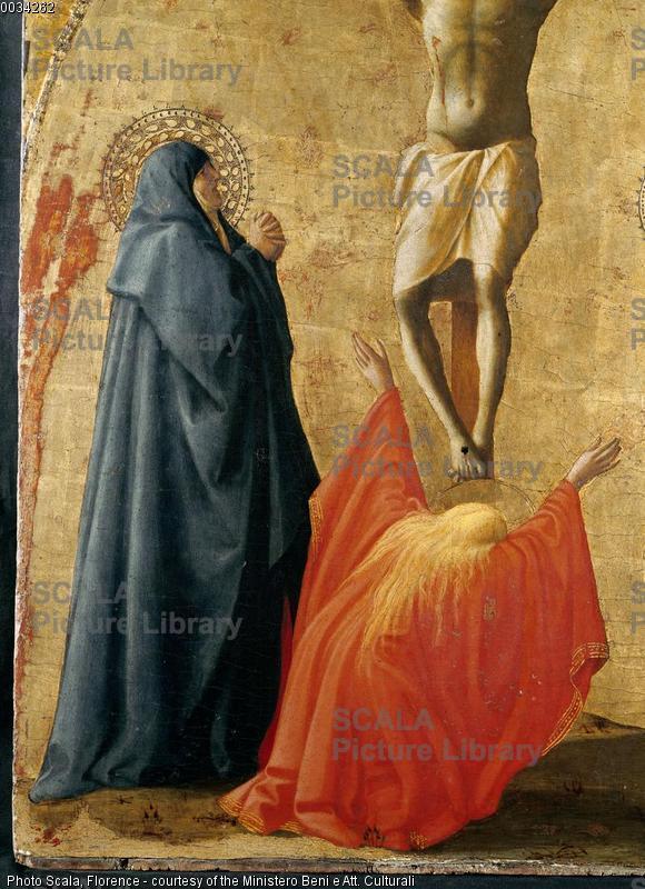 Masaccio (1401-1428) Polittico di Pisa: Crocifissione - p. (la Vergine e la Maddalena), 1426