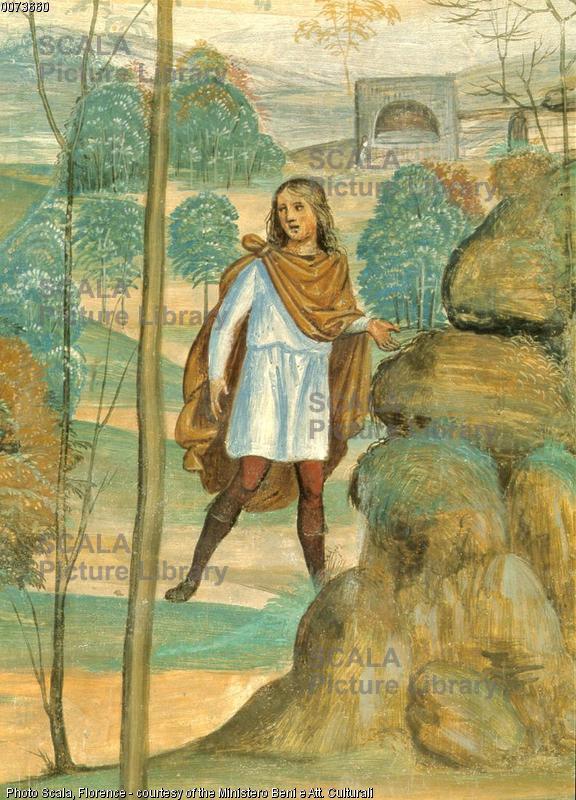 Sodoma (1477-1549) Storie di S. Benedetto: Romano da' l'abito al santo - p. (giovane)