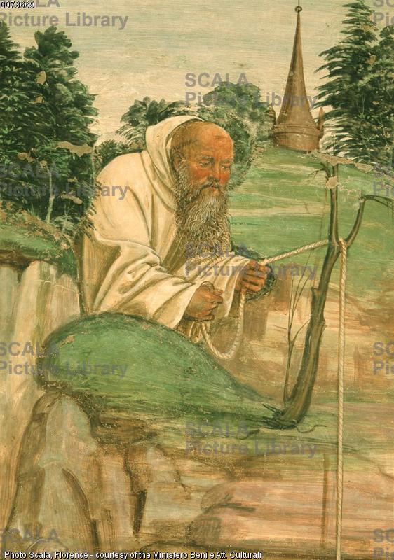 Sodoma (1477-1549) Storie di S. Benedetto: il demonio rompe la campanella - p. (frate Romano)