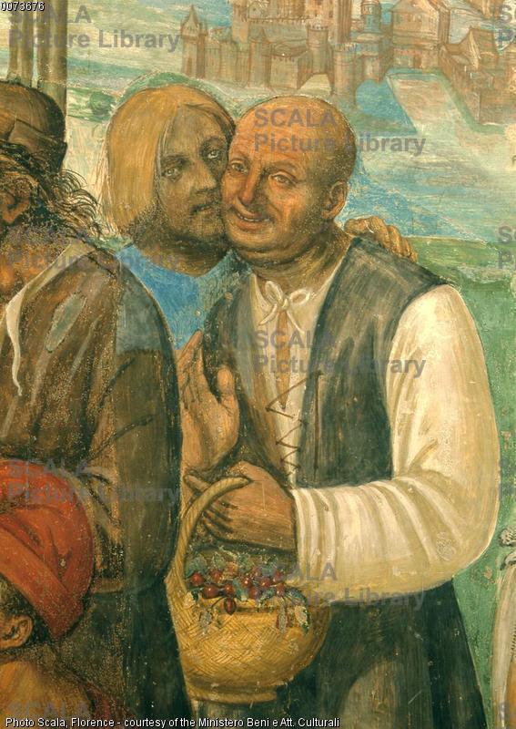 Sodoma (1477-1549) Storie di S. Benedetto: il santo ammaestra i contadini - p. (due contadini)