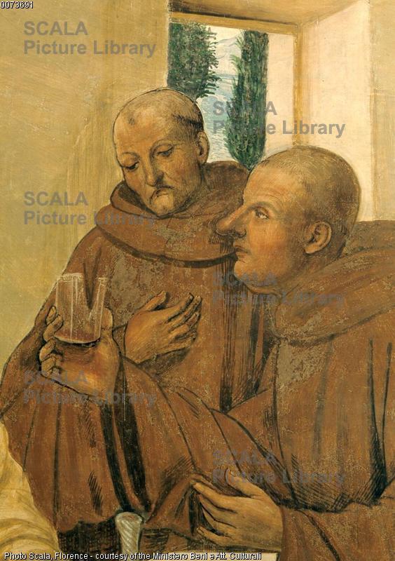 Sodoma (1477-1549) Storie di S. Benedetto: il santo spezza col segno della croce un bicchiere di vino - p. (eremiti)