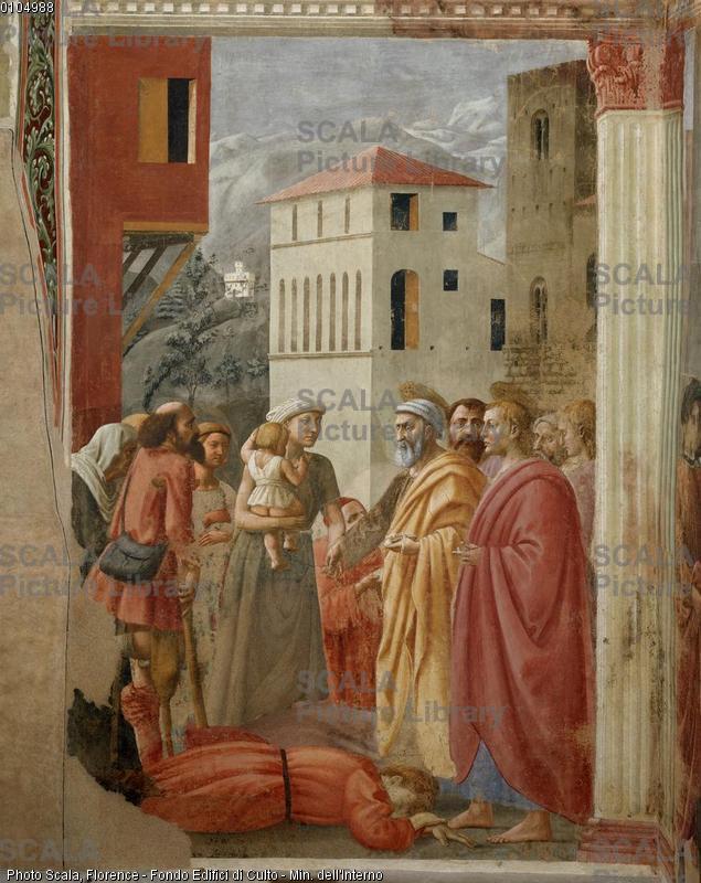 Masaccio (1401-1428) Distribuzione delle elemosine e morte di Anania
