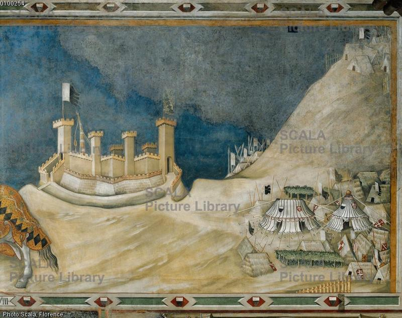 Martini, Simone (1284-1344) Guidoriccio da Fogliano Besieging Monte Massi - detail (castle and encampment)