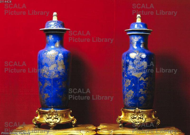 Arte cinese Vasi con fondo blu