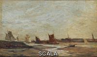 Daubigny, Charles Francois (1817-1878) Veduta con barche a vela
