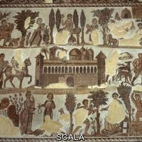 ******** Mosaico con scene di vita di campagna intorno a villa porticata da Cartagine