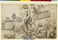 Heemskerck, Maarten van (1498-1574) Il giardino di Casa Galli (e' visibile il Bacco di Michelangelo)