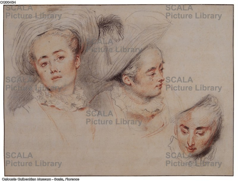 Watteau, Jean Antoine (1684-1721) Three Studies of a Young Woman's head. France, 1716-17