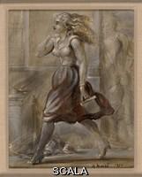 Marsh, Reginald (1898-1954) Girl Walking. 1951. Oil on masonite. 9 15/16 x 8 in. (25.3 x 20.3 cm). Gift of Ellenore Katz in memory of Fritz Katz. N. Inv. : 87.5