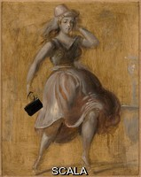 Marsh, Reginald (1898-1954) Girl with a Black Purse. 1952. Tempera. board: 10 x 8 in. (25.4 x 20.3 cm). Bequest of Charles and Isabel Eaton. N. Inv. : 2009.31.100