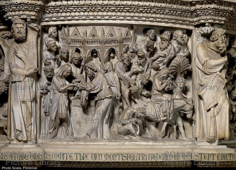 Pisano, Giovanni (1248 ca.-1314) Pulpito - p. (Presentazione al tempio e Fuga in Egitto)