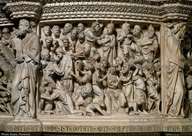 Pisano, Giovanni (1248 ca.-1314) Pulpito - p. (Bacio di Giuda e Passione di Cristo)