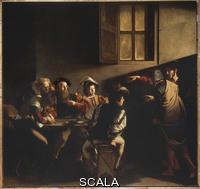 Caravaggio (Merisi, Michelangelo da 1571-1610) Le Caravage, La Vocation de saint Matthieu, huile sur toile, 1599-1600, 322 x 340 cm, Saint-Louis-des-Francais, Chapelle Contarelli, Rome