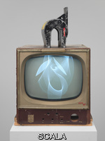 Paik, Nam June (1932-2006) Magnet TV, 1965. Modified black-and-white television set and magnet, Overall: 38 3/4 × 19 1/4 × 24 1/2in. (98.4 × 48.9 × 62.2 cm). Purchase, with funds from Dieter Rosenkranz. Inv. n.: 86.60a-b
