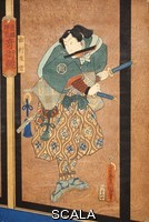******** Samurai warrior, Edo period woodblock. This warrior has a war fan in his mouth and is carrying two swords. The Samurai were a warrior class in medieval and early-modern Japan. The Edo period lasted from 1603 to 1898.