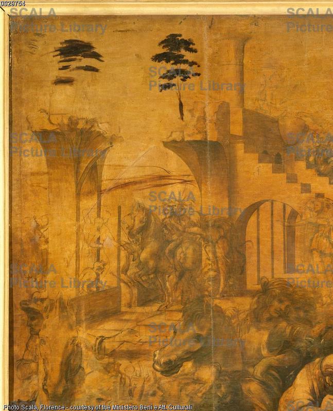 Leonardo da Vinci (1452-1519) Adorazione dei Magi - p. (rovine e cavalli in alto a sinistra)
