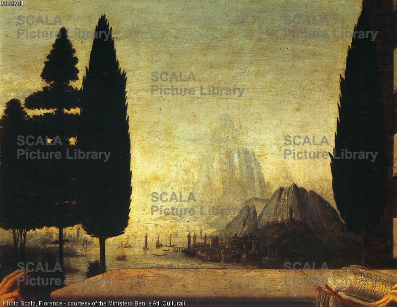 Leonardo da Vinci (1452-1519) Annunciazione - p. (paesaggio)