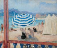 Lebasque, Henri (1865-1937) Lebasque, Henri (1865-1937). Cannes, Blue Parasol and Tents; Cannes, Parasol Bleu et Tentes.