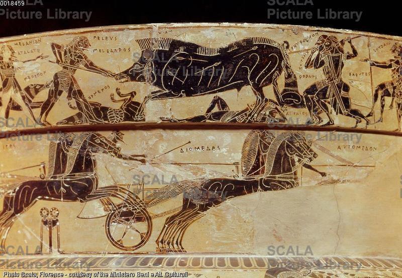 Ergotimo e Clizia (sec. VI a.C.) Vaso Francois - p. (caccia al cinghiale Caledonio)