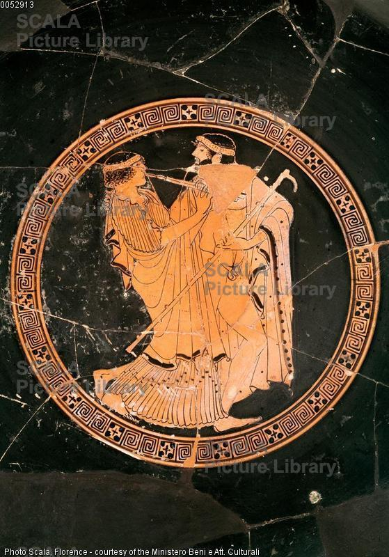 Pittore di Brygos (att. 490 ca.-470 a.C.) Kylix con flautista e il suo pedagogo