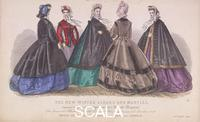******** Five women wearing the latest winter fashions, 1863