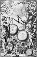 ******** Urania, the Muse of Astronomy, weighing and comparing systems of the universe, 1651