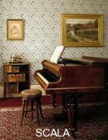******** Emma Darwin's piano in the drawing room at Down House, Downe, Greater London