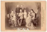 ******** Emperor Franz Joseph with his wife Elisabeth and his family. Photograph of a painiting by Georg Decker. Vienna. Austria. Around 1881. In Photo-Album: Haus Oesterreich