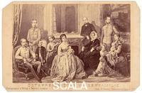 ******** Emperor Kaiser Franz Jospeh with his wife Elisabeth, their three children, his parents and his brothers. Photography. Around 1870