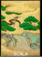 Arte giapponese Omoteshoin fusuma-e. Pannello scorrevole - dettaglio