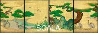 Arte giapponese Omoteshoin fusuma-e. Quattro pannelli scorrevoli (intero)