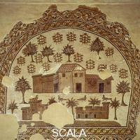 ******** Mosaico con tre ville, alberi e piante di vite, da Tabarka